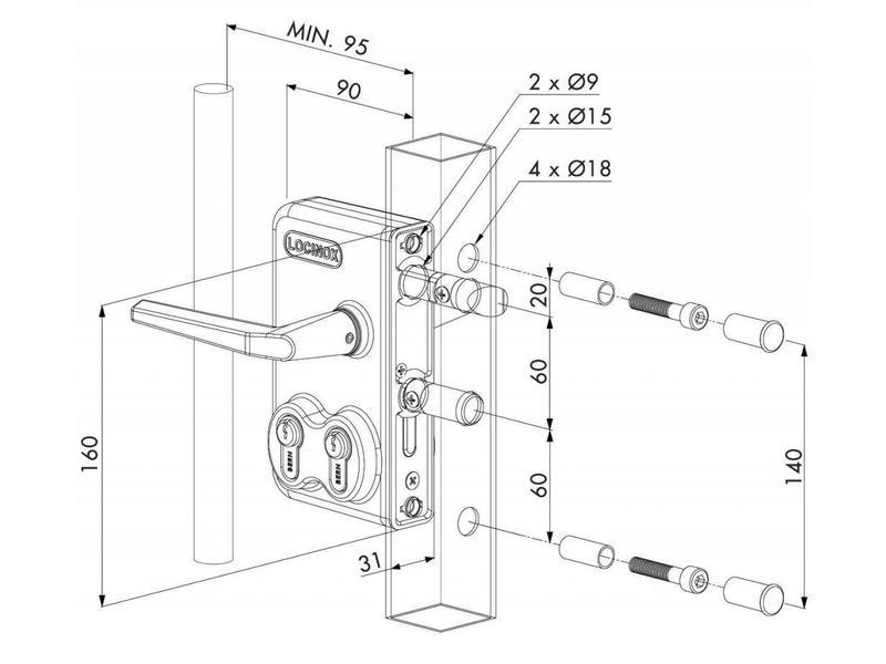 Locinox LDKZ D1   Dubbel cilinderslot - plat profiel
