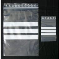 Druckverschlußbeutel, 120 x 170 mm = A6, 50 my, transparent, unbedruckt, mit 3 weißen Schreibfeldern (1 VE = 1.000 St.)
