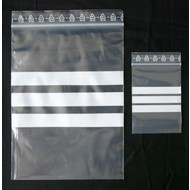 Druckverschlußbeutel, 160 x 220 mm = A5, 50 my, transparent, unbedruckt, mit 3 weißen Schreibfeldern (1 VE = 1.000 St.)