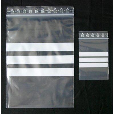 LDPE-Druckverschlußbeutel, Format: 180 x 250 mm (B x H bis zum Verschluß), 50 my Stärke, transparent, unbedruckt, mit 3 weißen Schreibfeldern