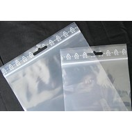 Druckverschlußbeutel, 60 x 80 mm, 50 my, transparent, unbedruckt, mit Eurolochung oberhalb des Druckverschlusses (1 VE = 1.000 St.), AUSVERKAUF