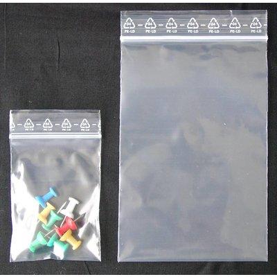 LDPE-Druckverschlußbeutel, Format: 80 x 120 mm (B x H bis zum Verschluß), 90 my Stärke (EXTRA STARK), transparent, unbedruckt