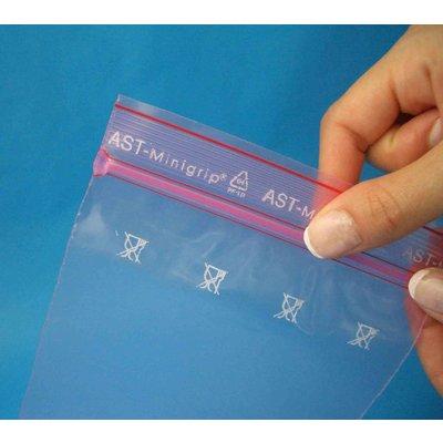 Antistatik-Druckverschlußbeutel, Format: 100 x 150 mm (B x H bis zum Verschluß), 75 my Stärke, rosa-transparent