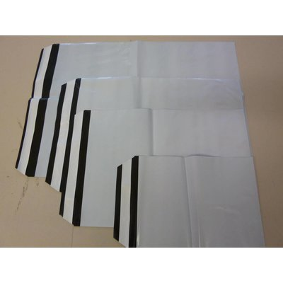 COEX-Adhäsionsverschlußbeutel, Format: 320 x 420 + 40 mm (B x H + Klappe), 70 my Stärke, außen weiß / innen schwarz, unbedruckt - Ausverkauf