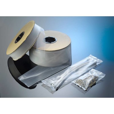 LDPE-Schlauchfolie, 250 mm Breite, 50 my Stärke, 500 lfm. je Rolle, transparent, unbedruckt