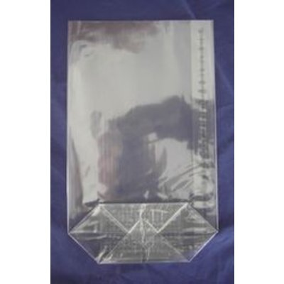 OPP-Kreuzbodenbeutel, Format: 75 x 130 mm (B x H), 30 my Stärke, hochtransparent, unbedruckt, mit Siegelnaht