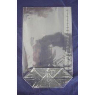 OPP-Kreuzbodenbeutel, Format: 100 x 175 mm (B x H), 30 my Stärke, hochtransparent, unbedruckt, mit Siegelnaht
