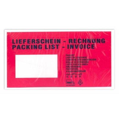 """Selbstklebende Dokumententaschen DIN Lang, Format: ca. 135 x 235 mm (B x H), bedruckt mit """"Lieferschein-Rechnung"""""""