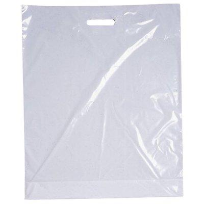 LDPE-Kunststoff-Tragetaschen, Format: 700 x 500 + 50 mm (B x H + Falte), 50 my Stärke, weiß eingefärbt, unbedruckt, mit Griffverstärkung