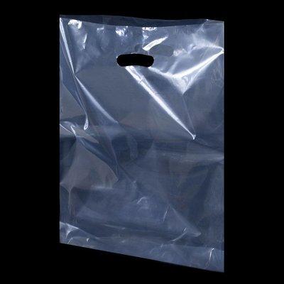 LDPE-Kunststoff-Tragetaschen, Format: 370 x 440 + 40 mm (B x H + Falte), 40 my Stärke, transparent, unbedruckt, mit Griffverstärkung