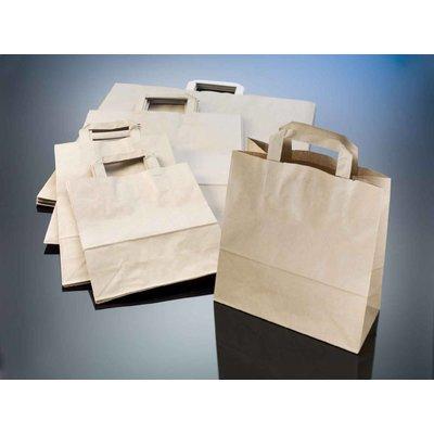 braune Papiertragetaschen, Format: 22 + 10 x 28 cm (B + Falte x H), 70 g/qm Stärke, unbedruckt, mit angeklebten Papierhenkeln und Abdeckblatt