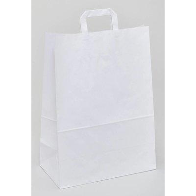 weiße Papiertragetaschen, Format: 32 + 12 x 42 cm (B + Falte x H), 80 g/qm Stärke, unbedruckt, mit angeklebten Papierhenkeln und Abdeckblatt