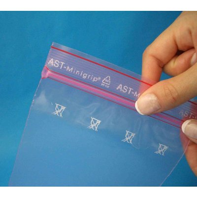 Antistatik-Druckverschlußbeutel, Format: 250 x 350 mm (B x H bis zum Verschluß), 80 my Stärke, rosa-transparent