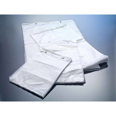 HDPE-Flachbeutel, milchig-transparent, Format: 200 x 270 + 30 mm (B x H + Block), 10 my Stärke, unbedruckt, geblockt zum Abreißen
