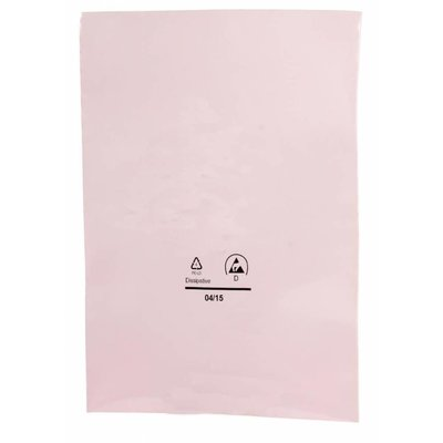 Antistatik-Flachbeutel,  406 x 508 mm, 90 my, rosa-transparent (1 VE = 800 St.)