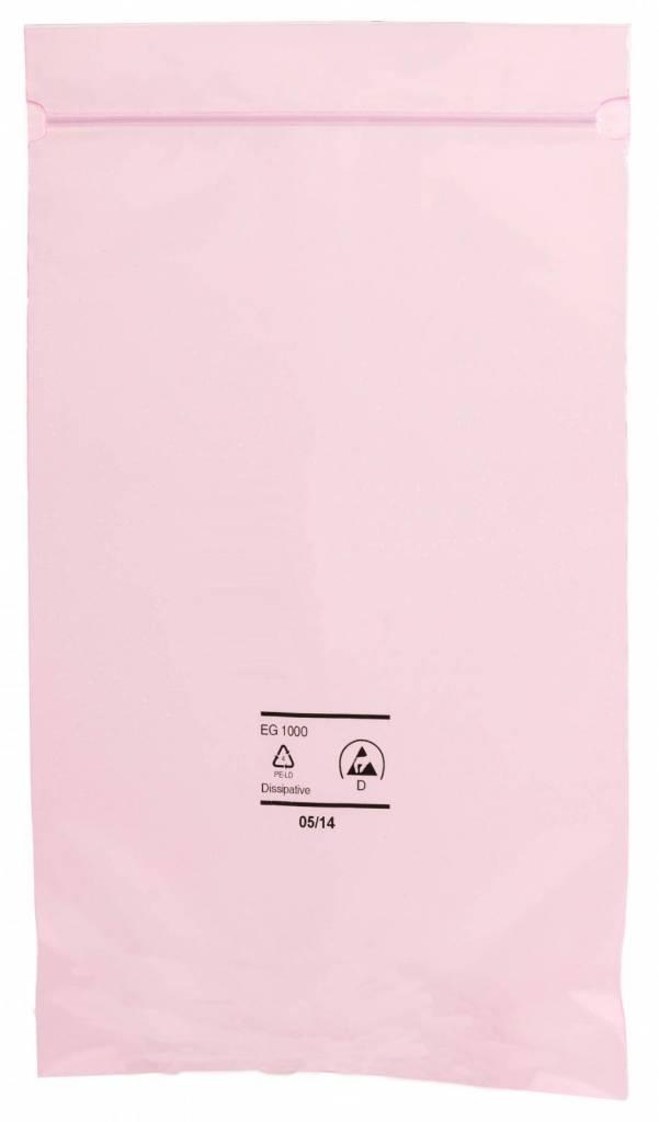 Antistatik Druckverschlußbeutel rosa-transparent 90 my stark
