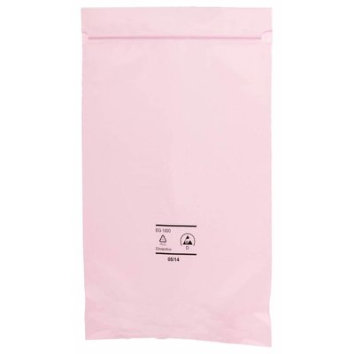 Antistatik-Druckverschlußbeutel, 76 x 100 mm, 90 my, rosa-transparent (1 VE = 1.000 St.)