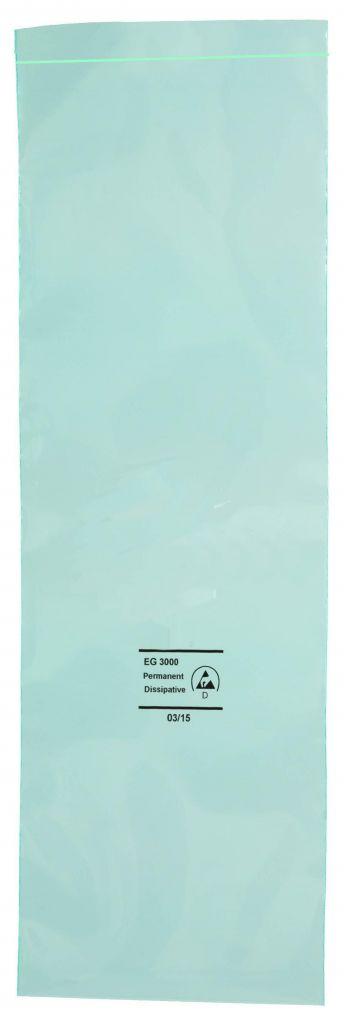 Permanent Antistatik Druckverschlußbeutel grün-transparent