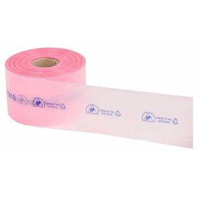 Antistatik Schlauchfolie, 150 mm Breite, 250 m Länge, 90 my, rosa-transparent (1 VE = 1 Rolle)
