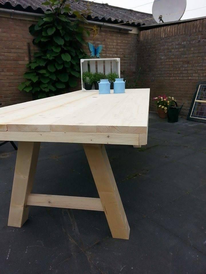 Tuintafel 80 cm breed tot 300 cm lang met houten a poten for Tuinbladen nl