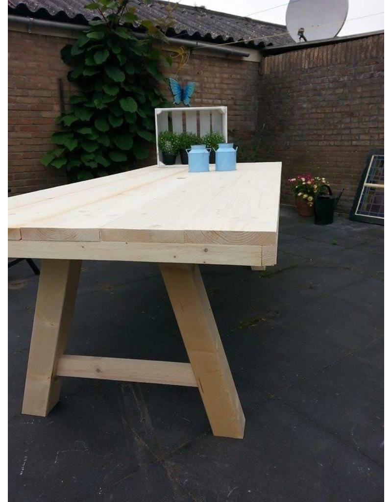 tuintafel 90 cm breed tot 300 cm lang met houten a poten r de b meubels op maat. Black Bedroom Furniture Sets. Home Design Ideas