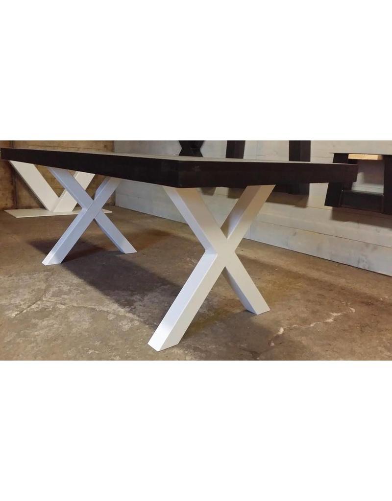 tuintafel 80 cm breed tot 300 cm lang met houten x poten r de b meubels op maat. Black Bedroom Furniture Sets. Home Design Ideas