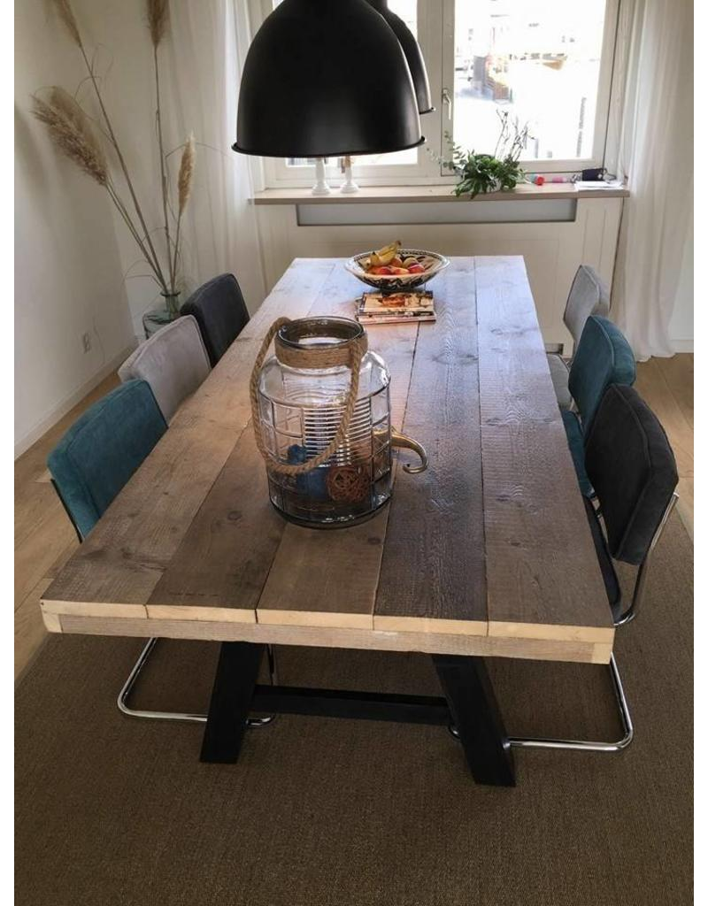Eetkamertafel 80 cm breed tot 300 cm lang met houten A poten - R De ...