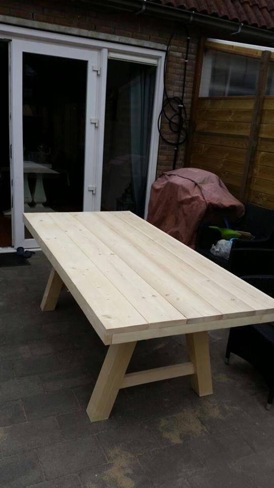 Eetkamertafel 90 cm breed tot 300 cm lang met houten A poten - R ...