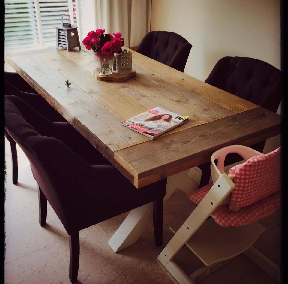 eetkamertafel 80 cm breed tot 300 cm lang met houten x poten r de b meubels op maat. Black Bedroom Furniture Sets. Home Design Ideas