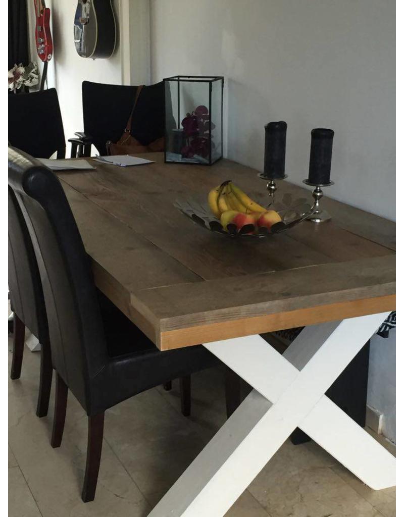 Eetkamertafel 90 cm breed tot 300 cm lang met houten X poten - R De ...