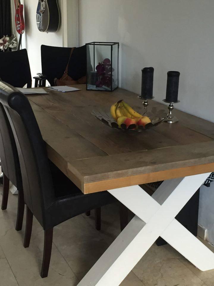 eetkamertafel 90 cm breed tot 300 cm lang met houten x poten r de b meubels op maat. Black Bedroom Furniture Sets. Home Design Ideas