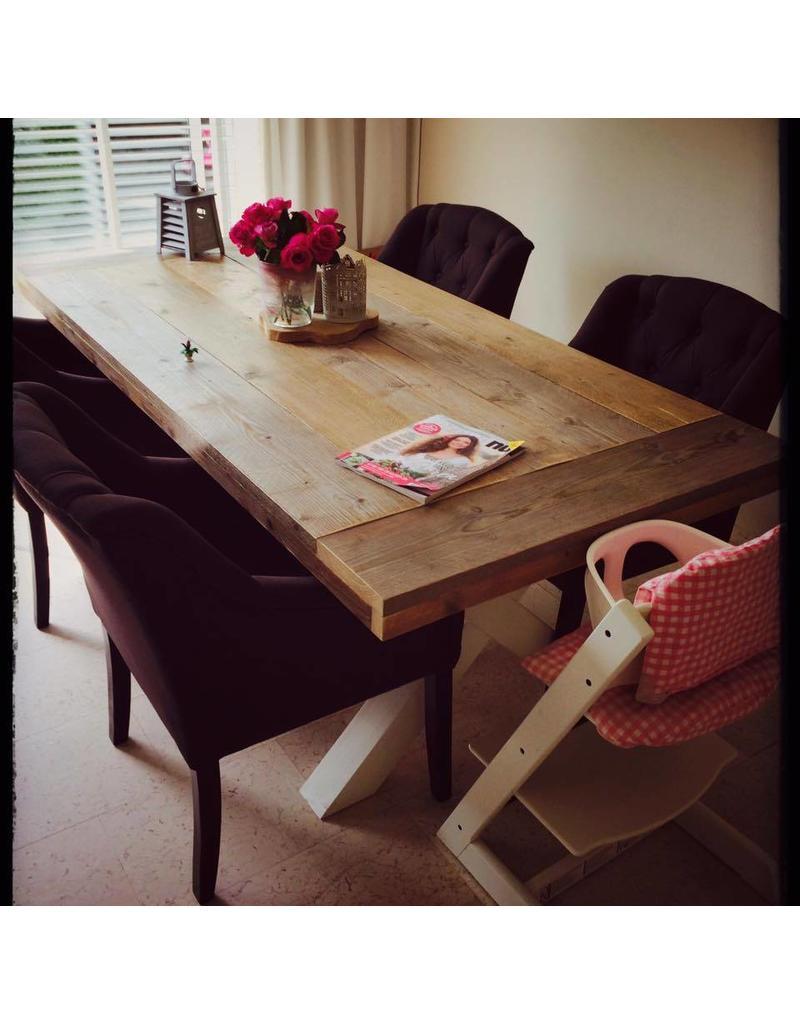 eetkamertafel 100 cm breed tot 300 cm lang met houten x poten r de b meubels op maat. Black Bedroom Furniture Sets. Home Design Ideas