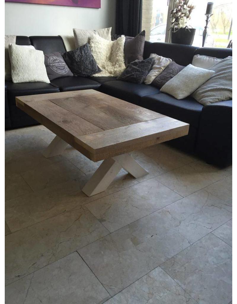 Salontafel 70 cm breed tot 150 cm lang met houten X poten   R De B Meubels Op Maat