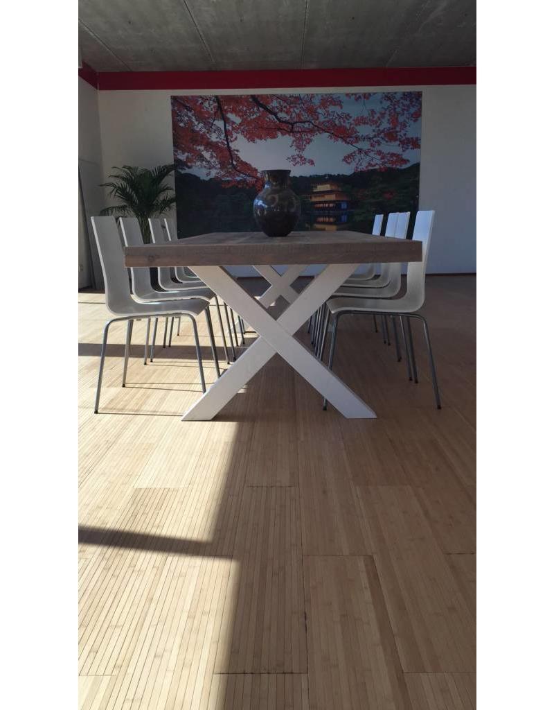 Eetkamertafel 100 cm breed tot 300 cm lang met houten X poten - R De ...