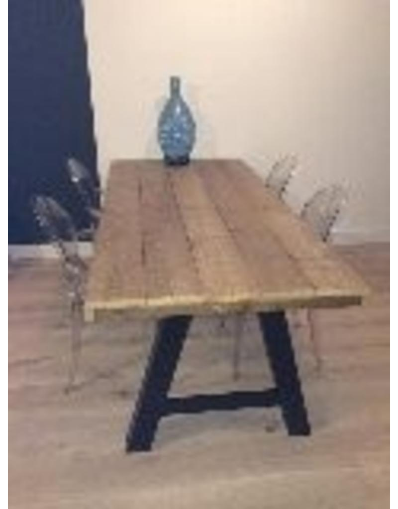 eetkamertafel 60 cm breed tot 300 cm lang met houten a poten r de b meubels op maat. Black Bedroom Furniture Sets. Home Design Ideas