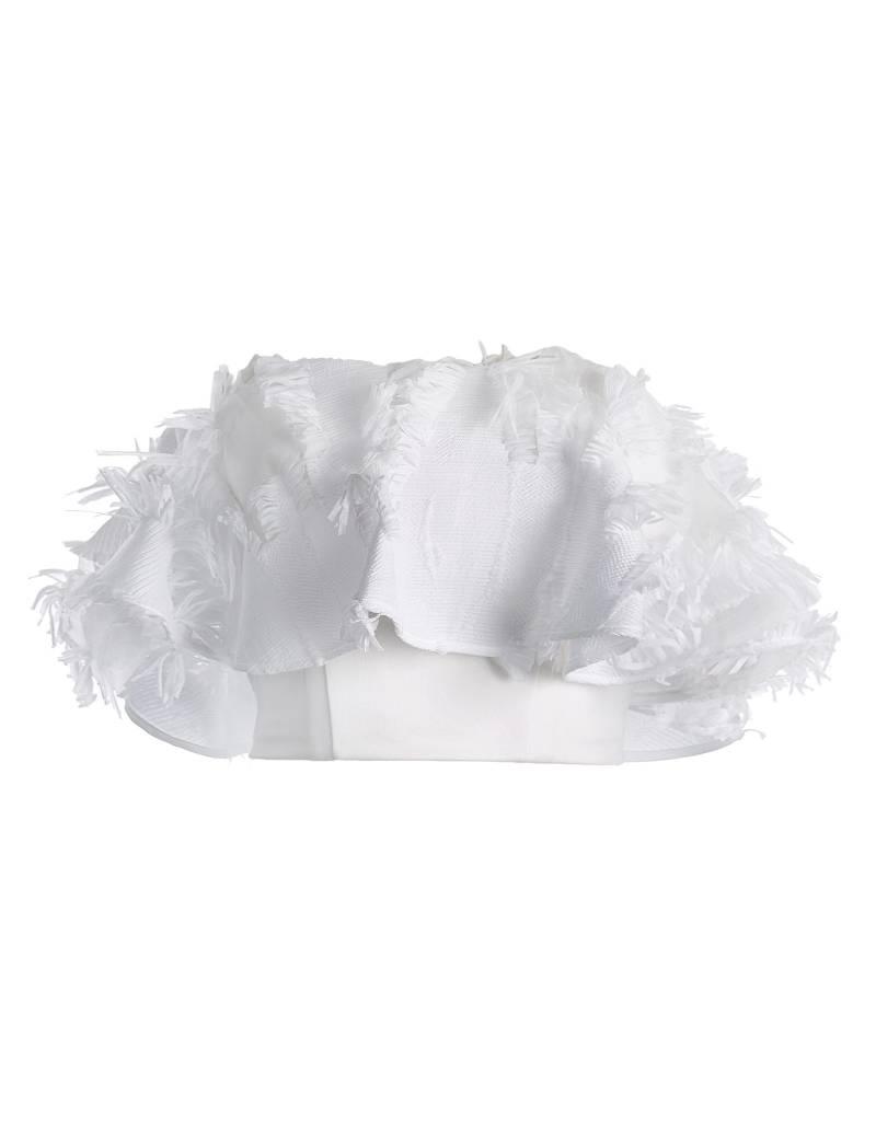 White Raffled Bandue Top