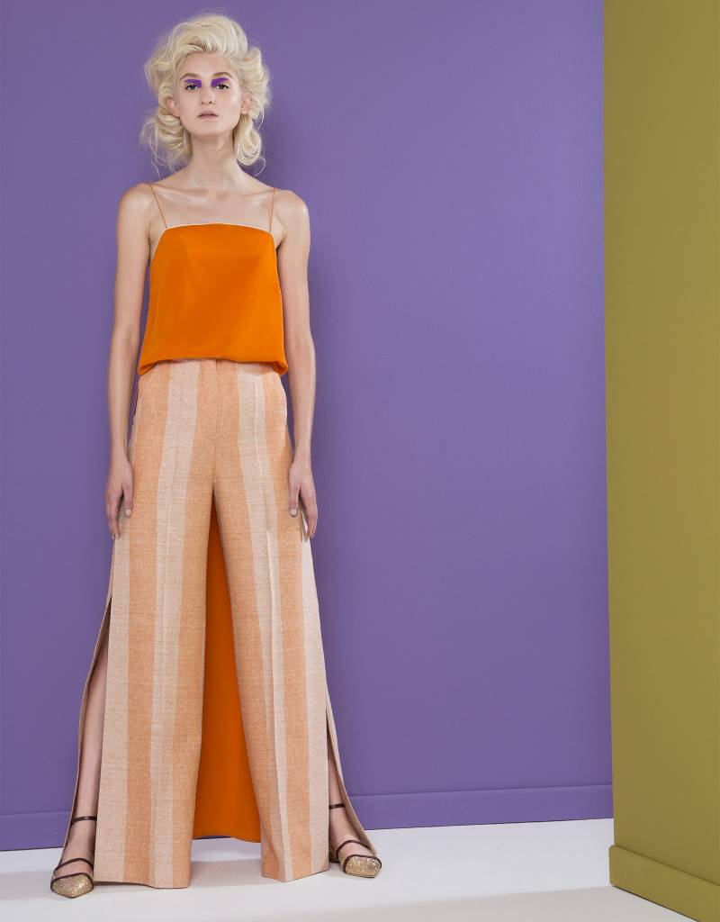 Striped Tangerine/White Trousers