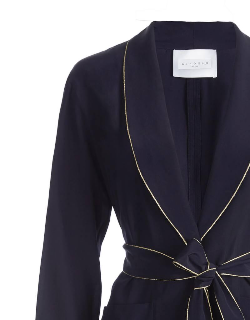 Silk Navy Blue Jacket