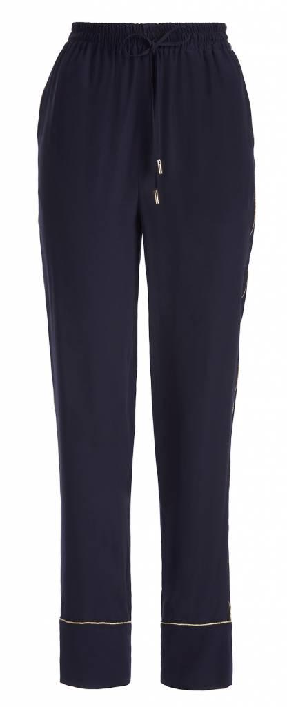 Silk Dark Blue Trousers