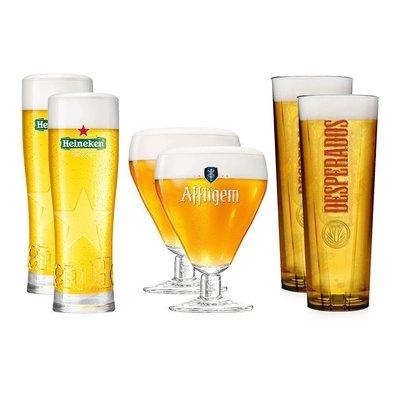 6 Glazen Pakket: 2 Heineken, 2 Desperados, 2 Affligem Glazen