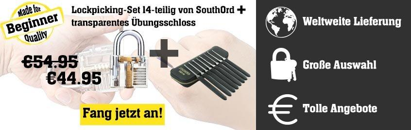 Lockpicking-Set 14-teilig von SouthOrd + transparentes