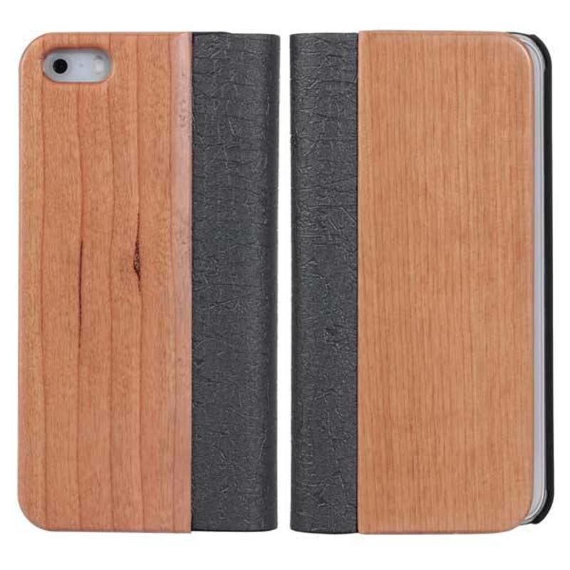 J&S Supply Hout Lederen Flip Cover iPhone 5 / 5S