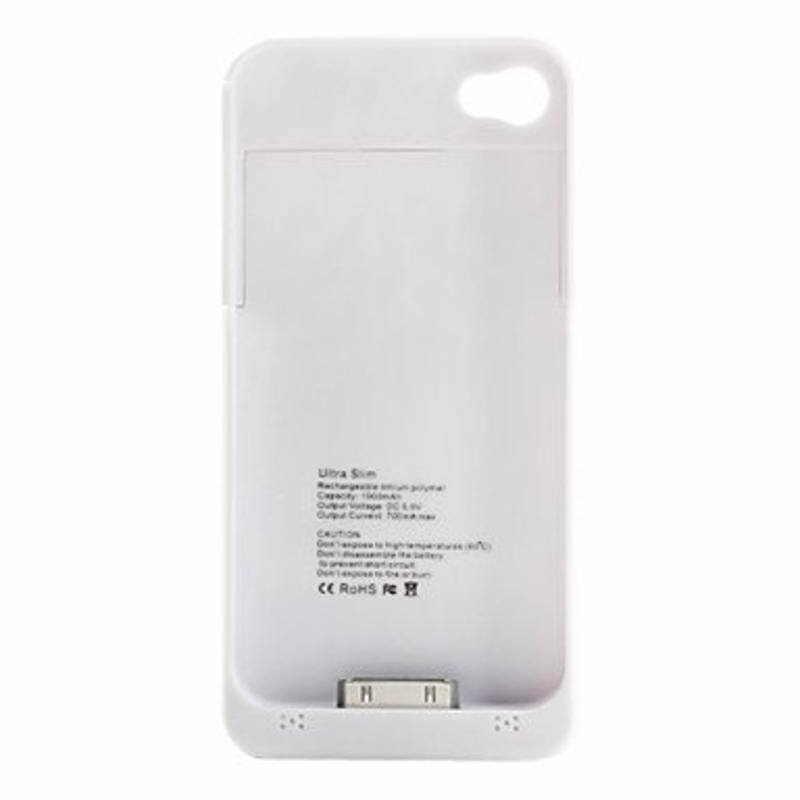 Externe Ultra Dunne powerhoes voor iPhone 4 / 4S in Wit of Zwart