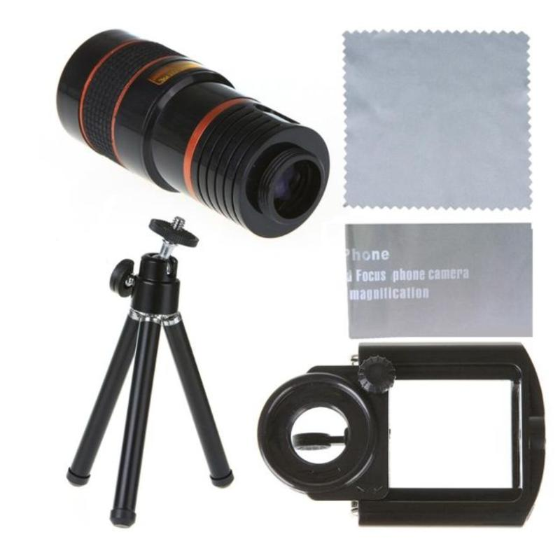 Universele Iphone 8 x Zoom telescoop Zwart