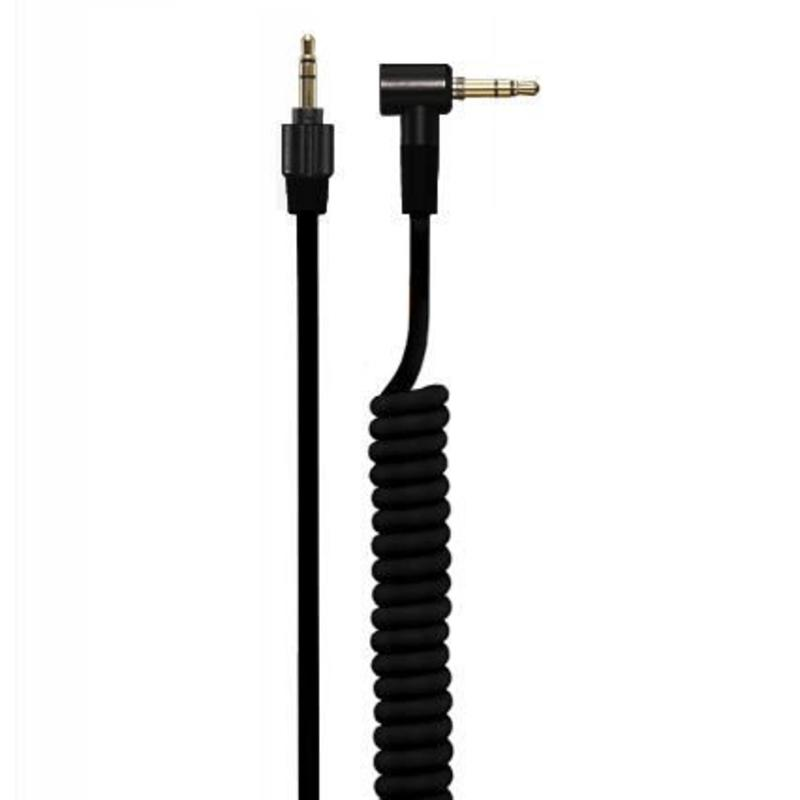 J&S Supply 4.2 mm Coiled Kabel met 3.5 mm Twist Lock Plug Zwart