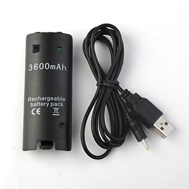 Batterij USB oplader Wit en Zwart (3600mAh) voor Nintendo Wii / Wii U