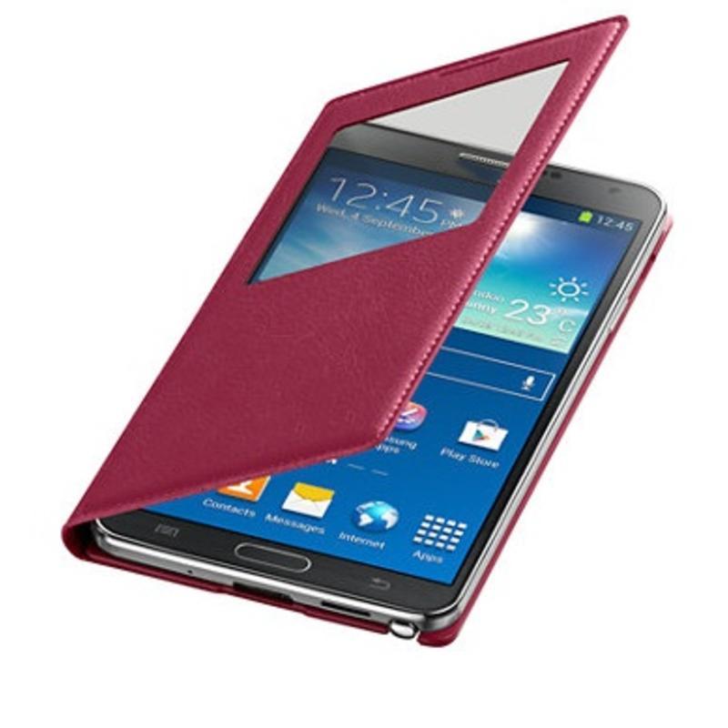 J&S Supply Samsung S View Flip Cover voor de Note 3 - Roze Pink
