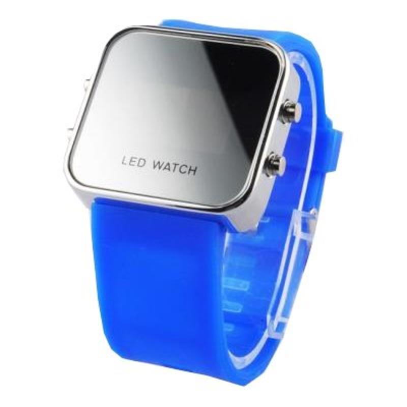 LED horloge felblauwe band