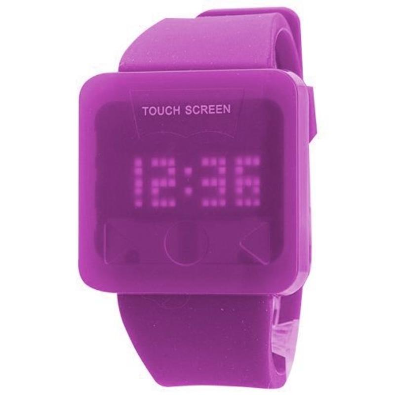 LED horloge touch screen paars
