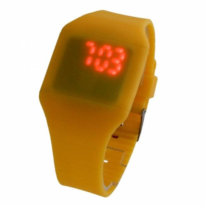 J&S Supply LED horloge touch screen geel